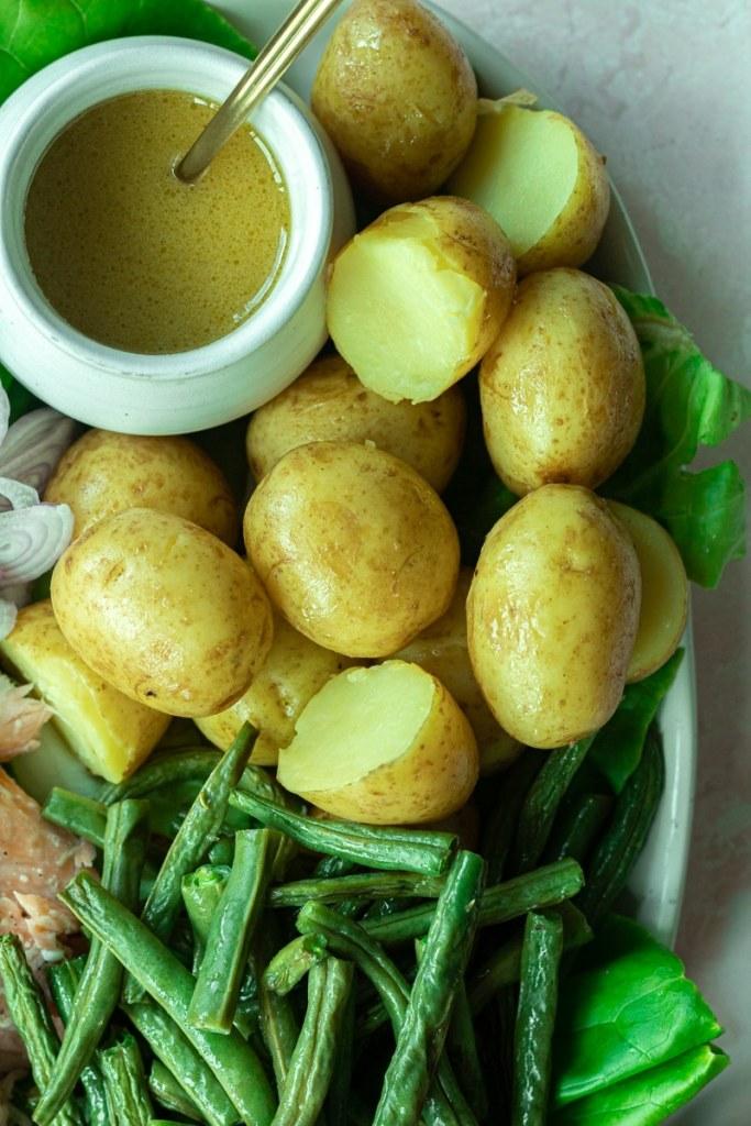 boiled potatoes on salad platter