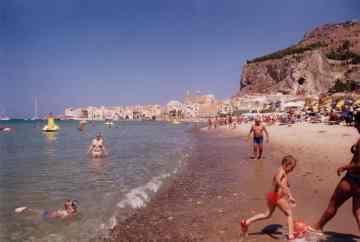 Cefalu, Sicily beach and La Rocca