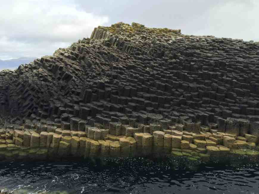 The basalt rock formations on the Isle of Staffa look otherworldly