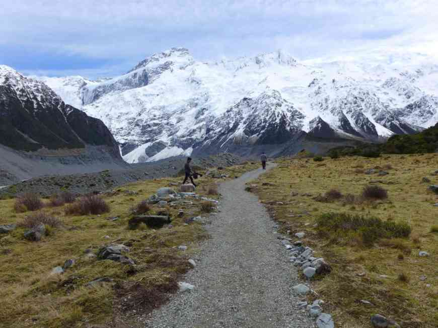 The snow-capped peaks along the Hooker Valley trail