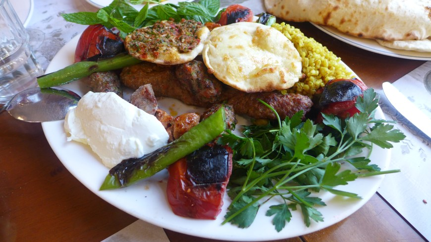 A traditional kebab plate on a walking tour in Istanbul