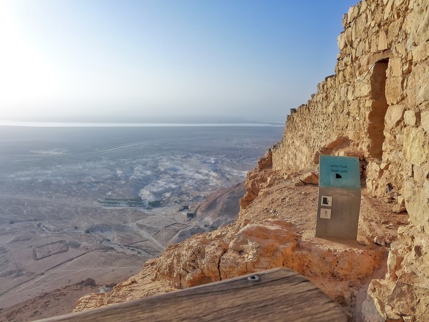 Masada's Snake Path is a challenging climb, but doing it before sunrise for a beautiful view of sunrise over the Dead Sea is totally worth it.