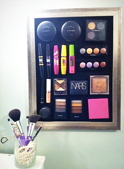Install a metal sheet on your bathroom wall and apply magnets to the back of your make-up. No more digging around!