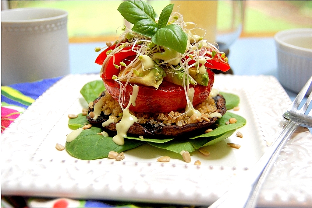 Toasted Quinoa Vegetable Stacks with Green Goddess Dressing