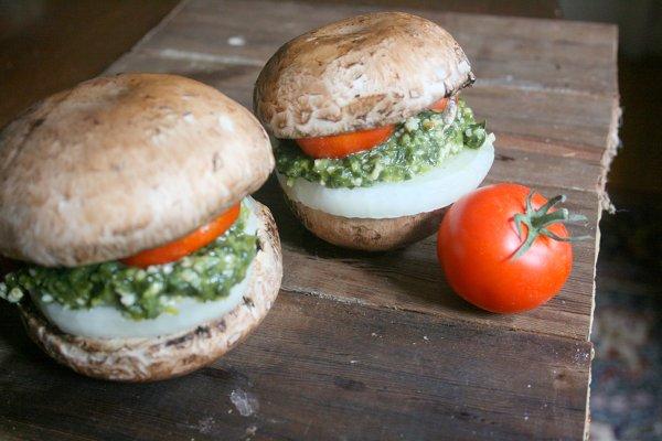 Recipe: Pesto Mushroom Burgers