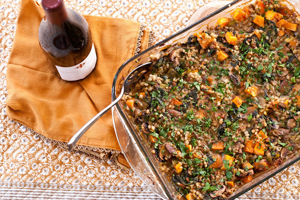 Butternut Squash, Portobello, and Spinach Casserole with Vegan Sausage