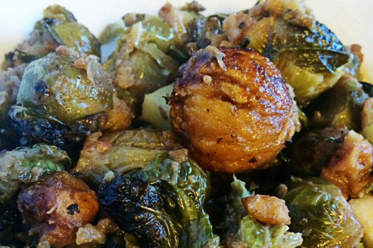 Roasted Brussel Sprouts With Apples and Chestnuts [Vegan, Gluten-Free]