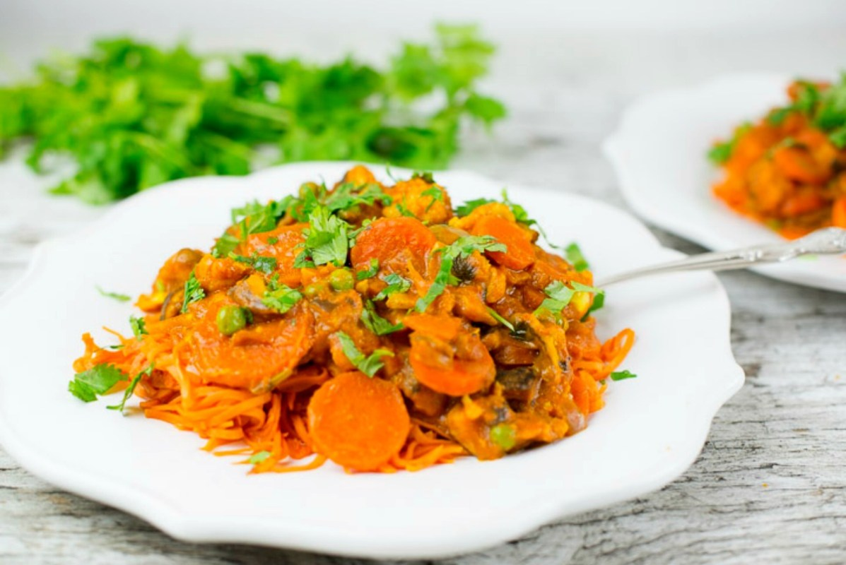 Sweet Potato Noodles and Coconut Curried Veggies [Vegan, Gluten-Free]