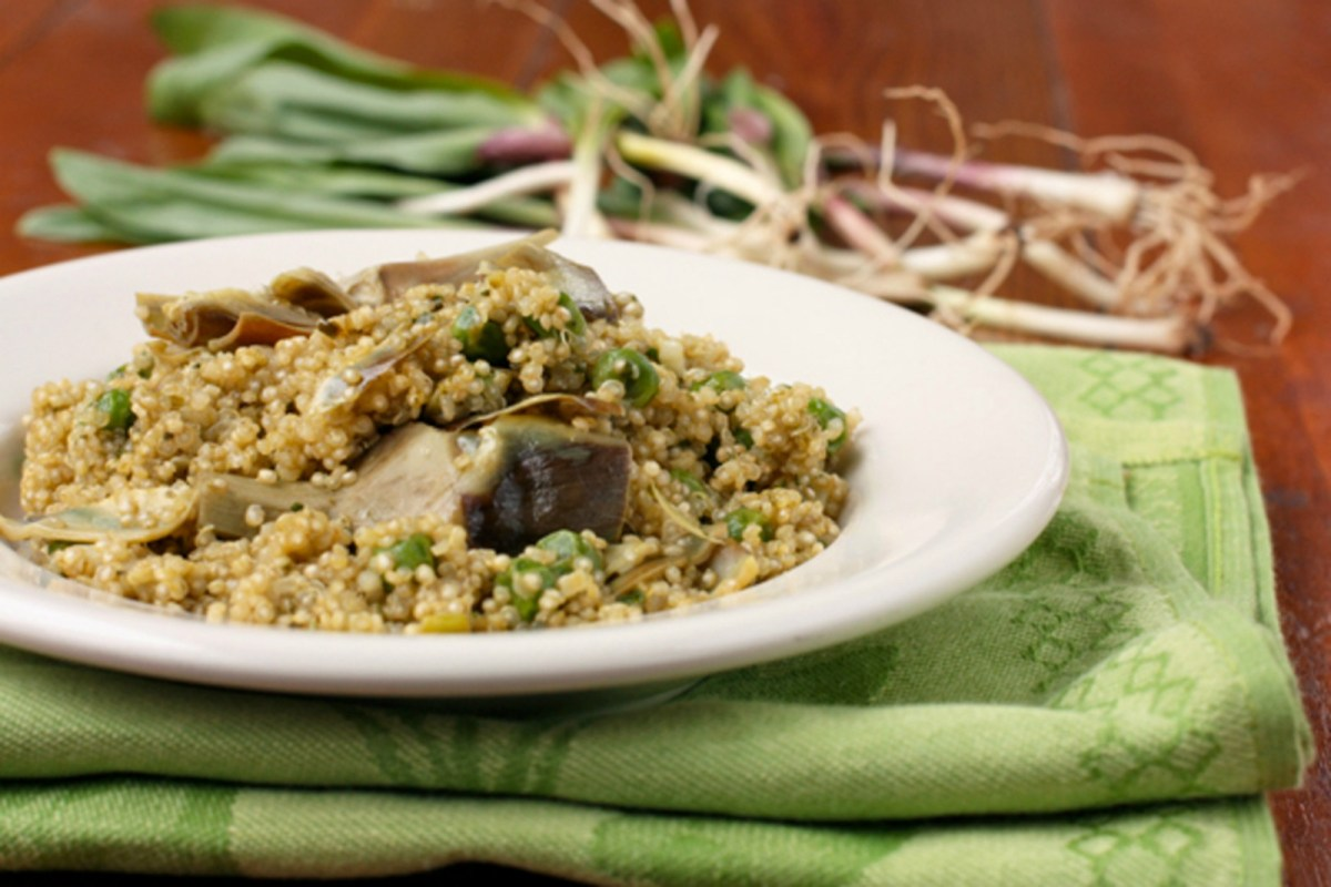 Quinao-Pilaf-with-Ramps-Artichokes-and-Peas