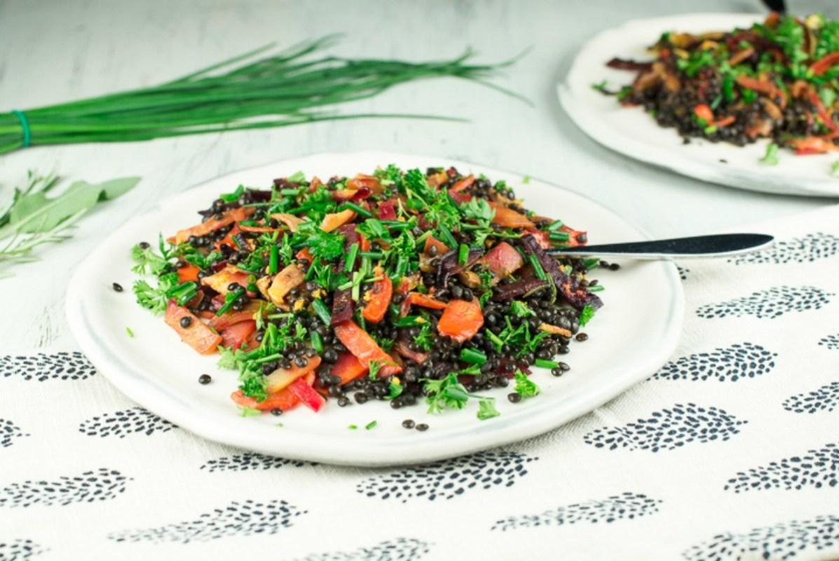 Warm Root and Lentil Salad With Turmeric Mustard Dressing [Vegan, Gluten-Free]