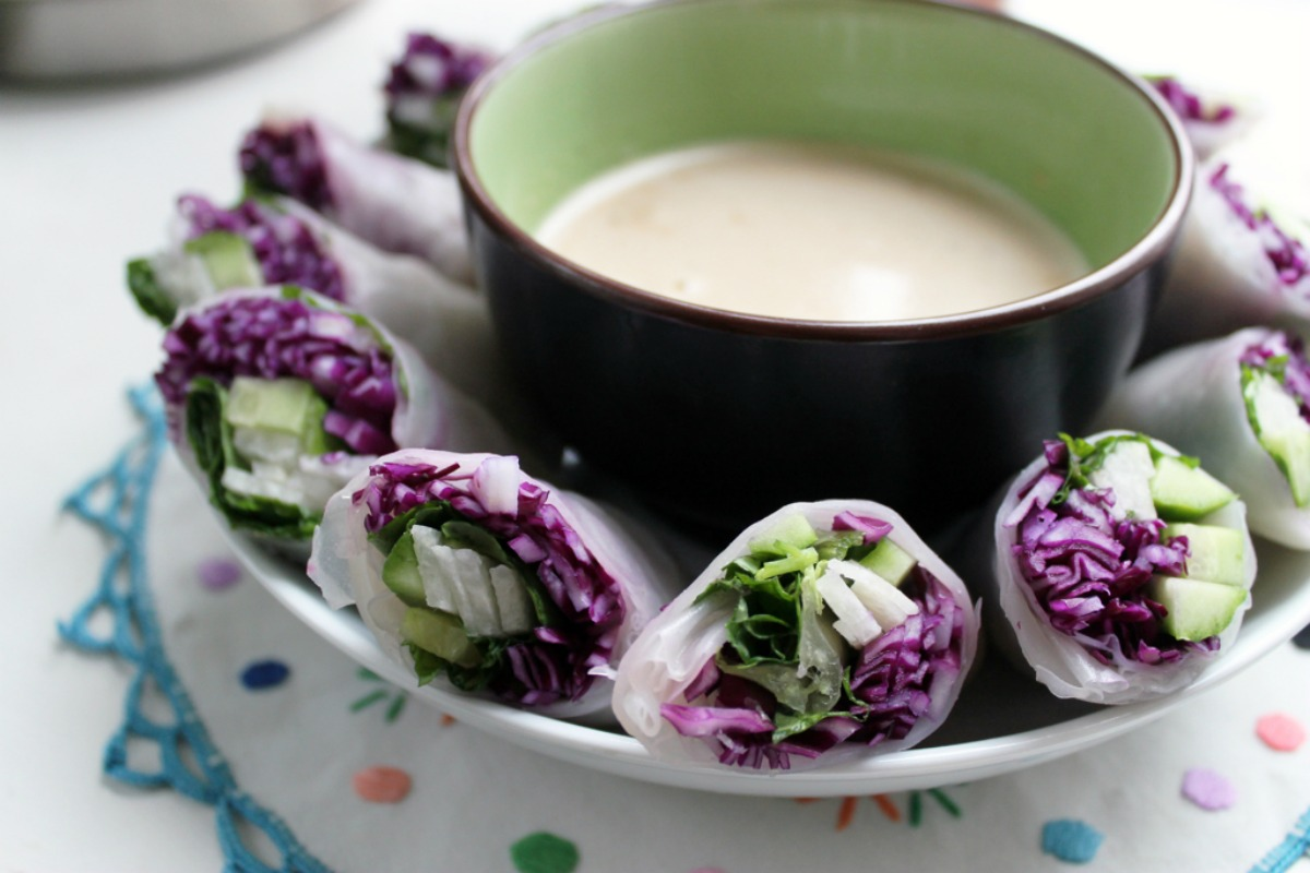 Red Cabbage and Jicama Spring Rolls With Peanut Dipping Sauce [Vegan, Gluten-Free]