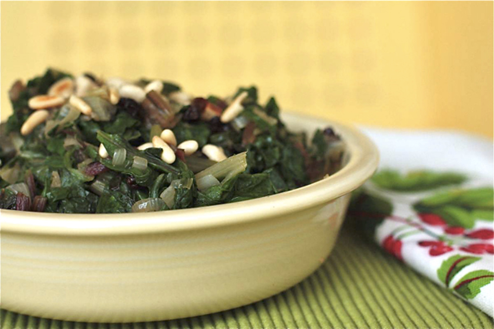 swiss-chard-with-onions-currants-and-pine-nuts
