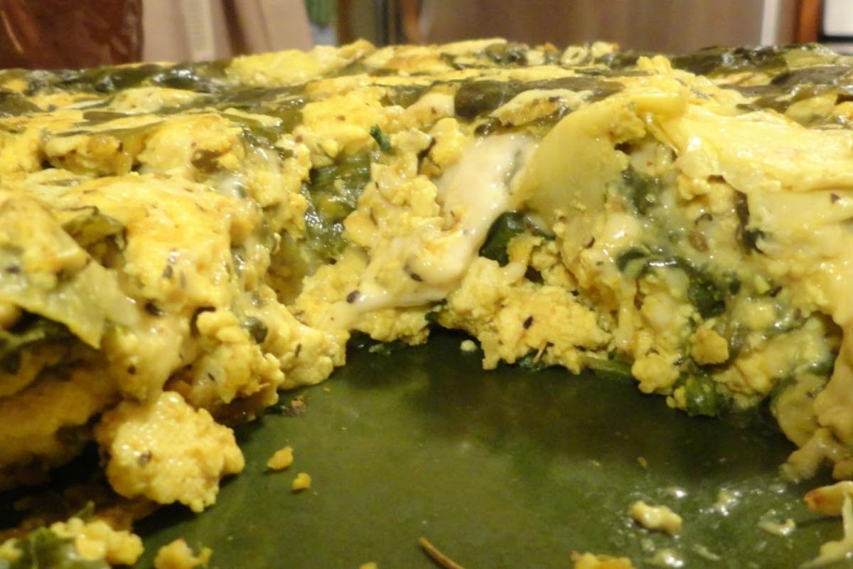 Spinach, Artichoke and Mozzarella Tofu Frittata [Vegan, Gluten-Free]