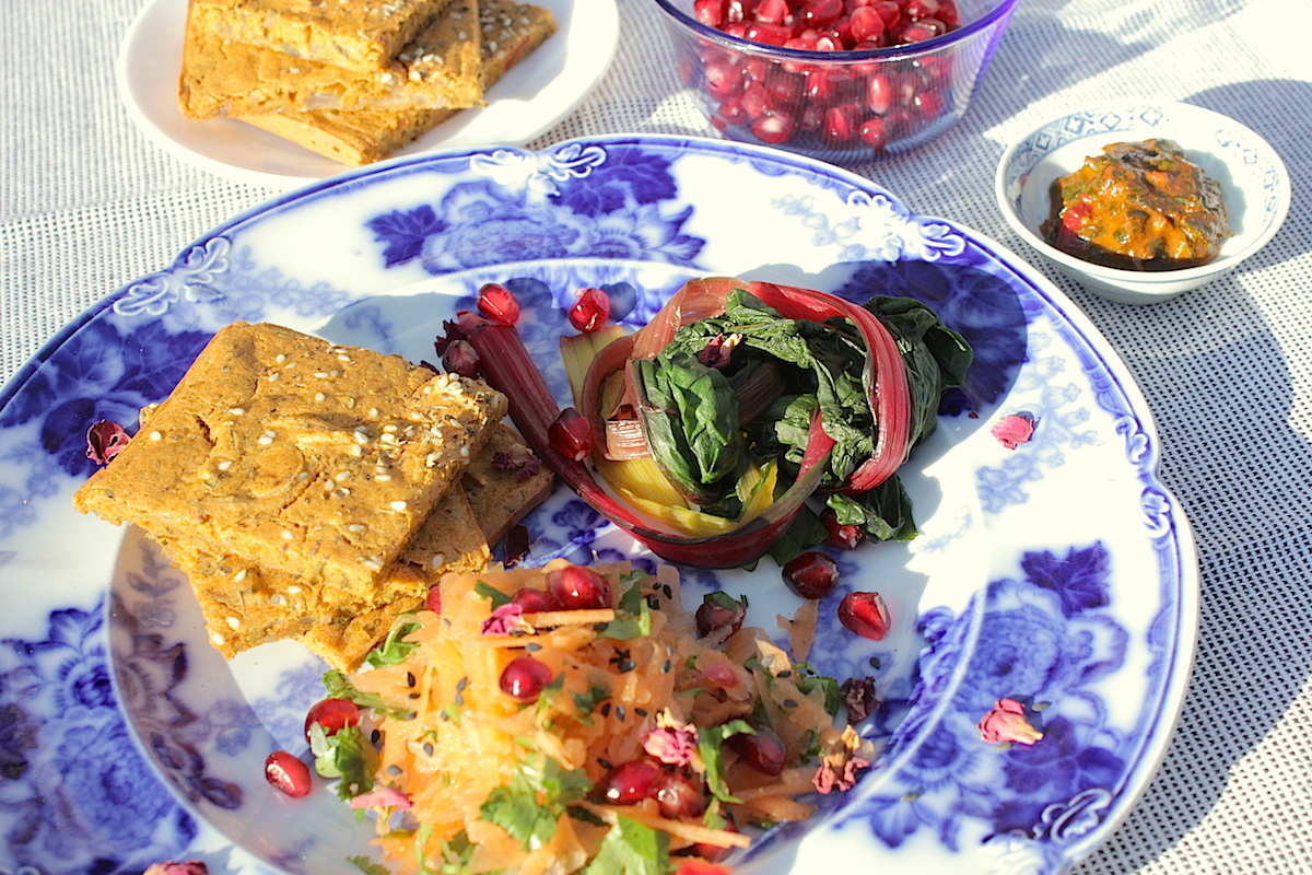 Chermoula-Spiced Karantita and Pomegranate Salad [Vegan, Gluten-Free]