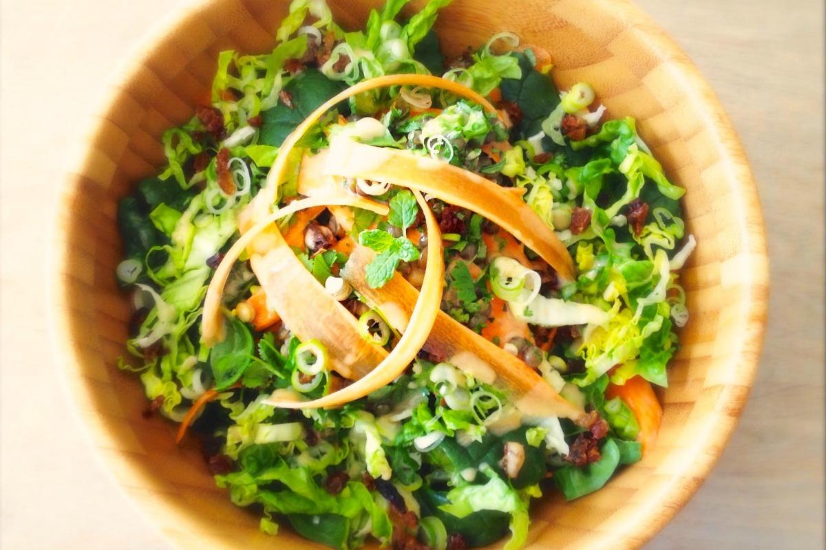 Green Lentil Salad With Spiced Carrots [Vegan, Raw, Gluten-Free]