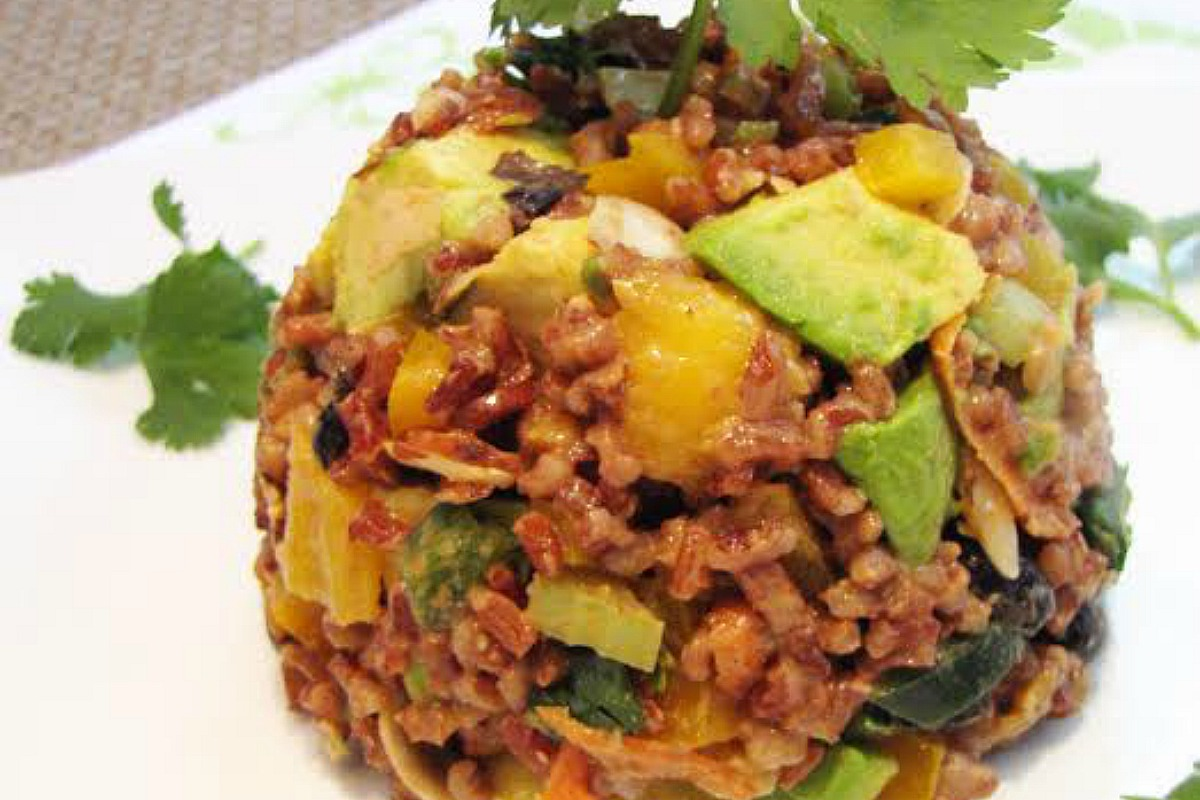 Caribbean Red Rice Salad With Chili- Apricot Dressing [Vegan, Gluten-Free]