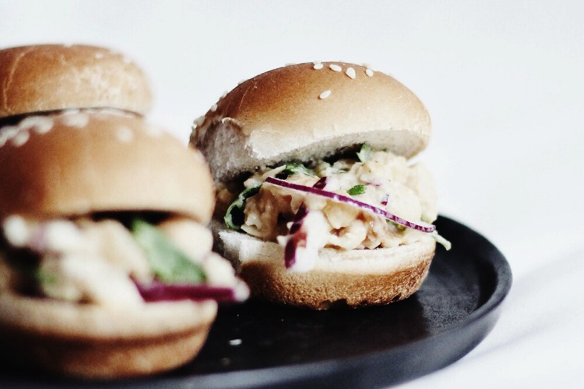 Chickpea Salad Sliders [Vegan]