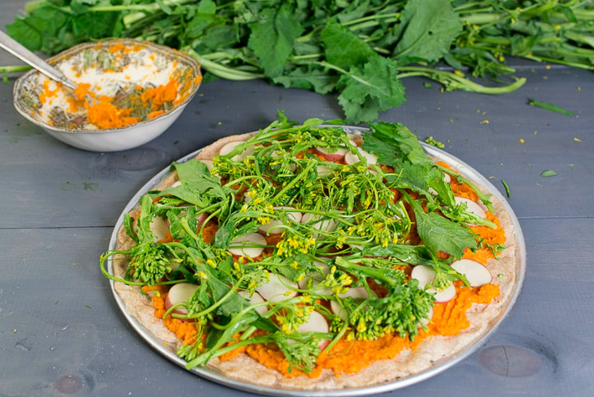 Broccoli Rabe Potato Pizza With Carrot Miso Sauce and Hazelnuts [Vegan]
