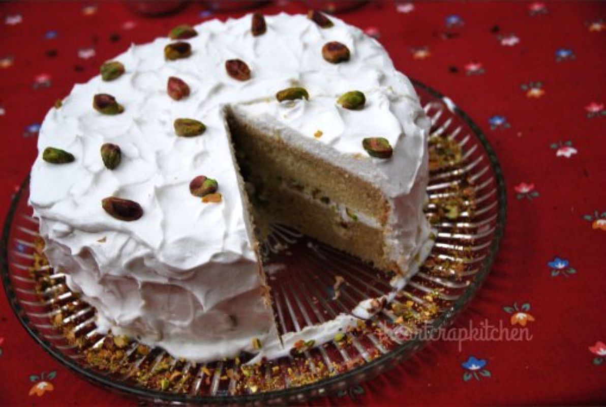 Cardamom Layer Cake With Rose Cream and Pistachios [Vegan]