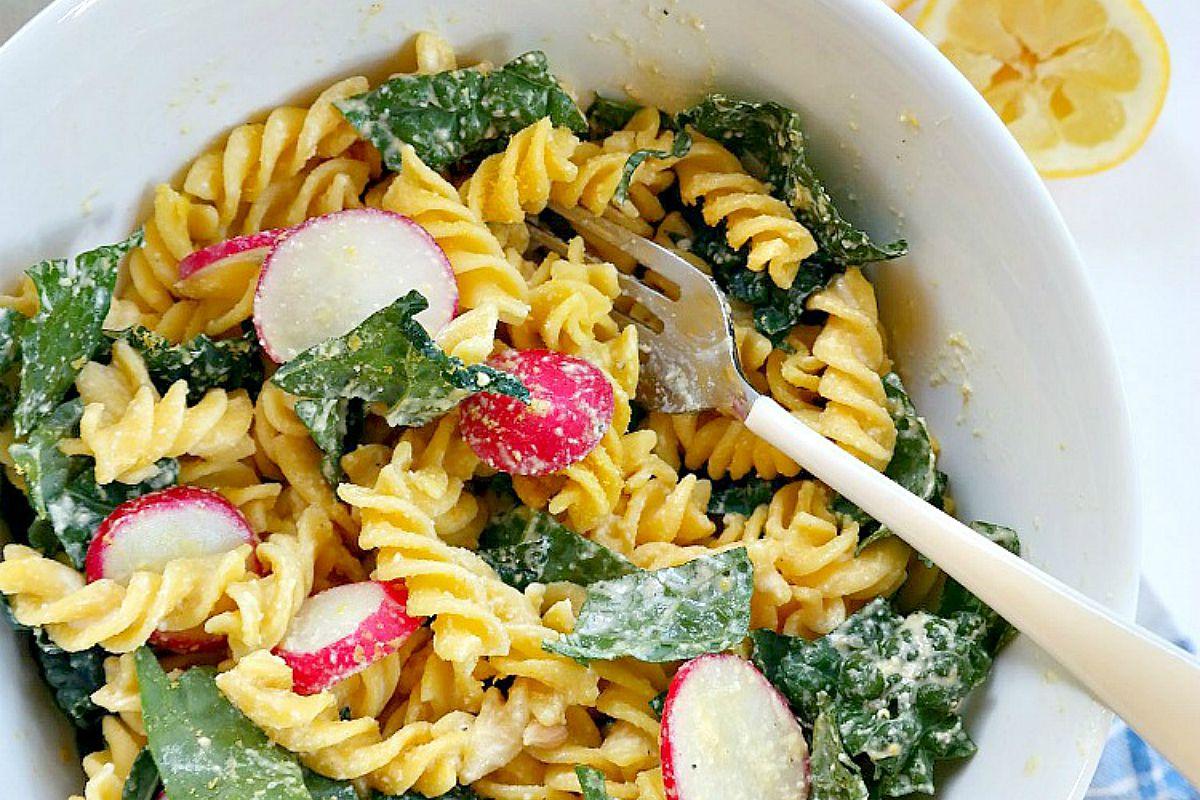 Kale Caesar Pasta Salad [Vegan, Gluten-Free]