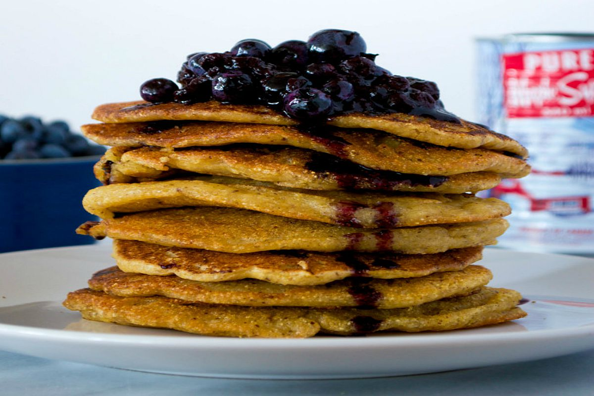 Crispy Cornmeal Pancakes With Blueberry Sauce [Vegan, Gluten-Free]