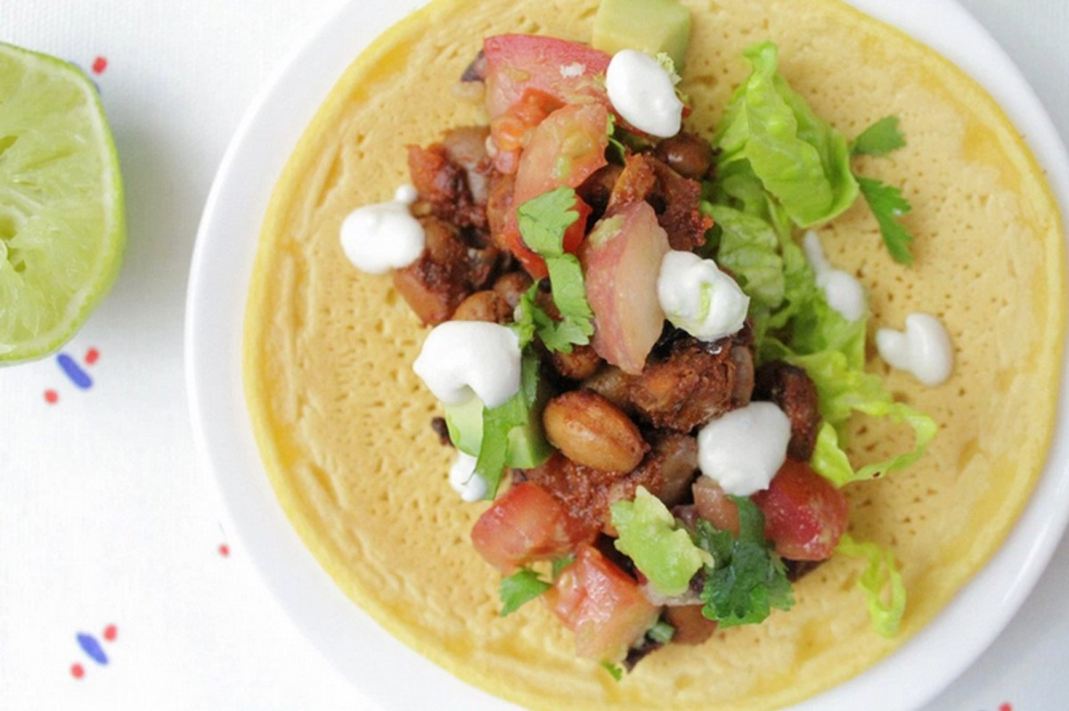 Smoky Socca Tacos With Peach Salsa [Vegan, Gluten-Free]