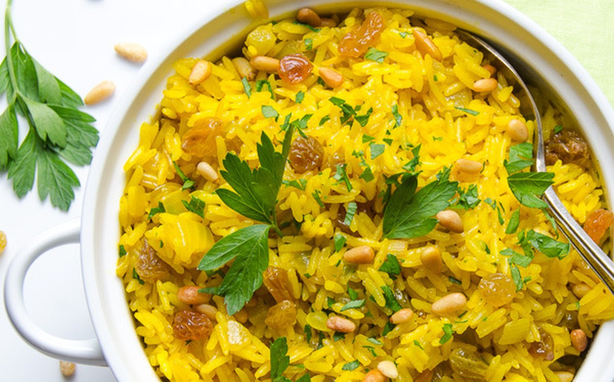 Jeweled Yellow Rice With Pignoli Nuts and Golden Raisins [Vegan, Gluten-Free]