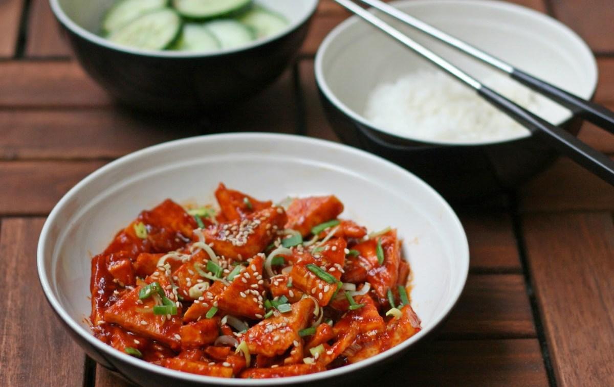 Korean-Style Spicy Tofu and Sesame Cucumbers [Vegan, Gluten-Free]