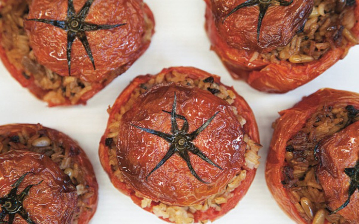 Simplest Greek Stuffed Tomatoes [Vegan, Gluten-Free]