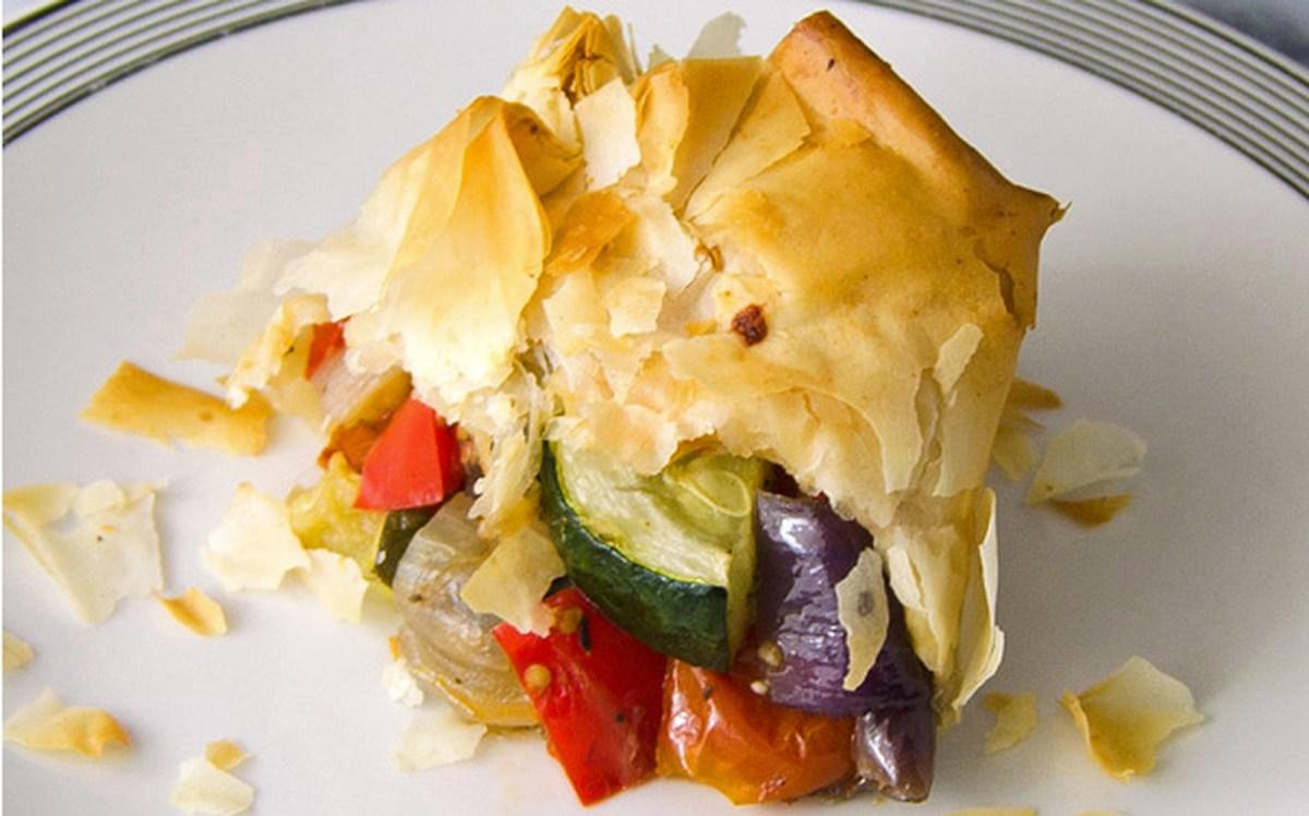 Roasted Vegetable Phyllo Bundles [Vegan]