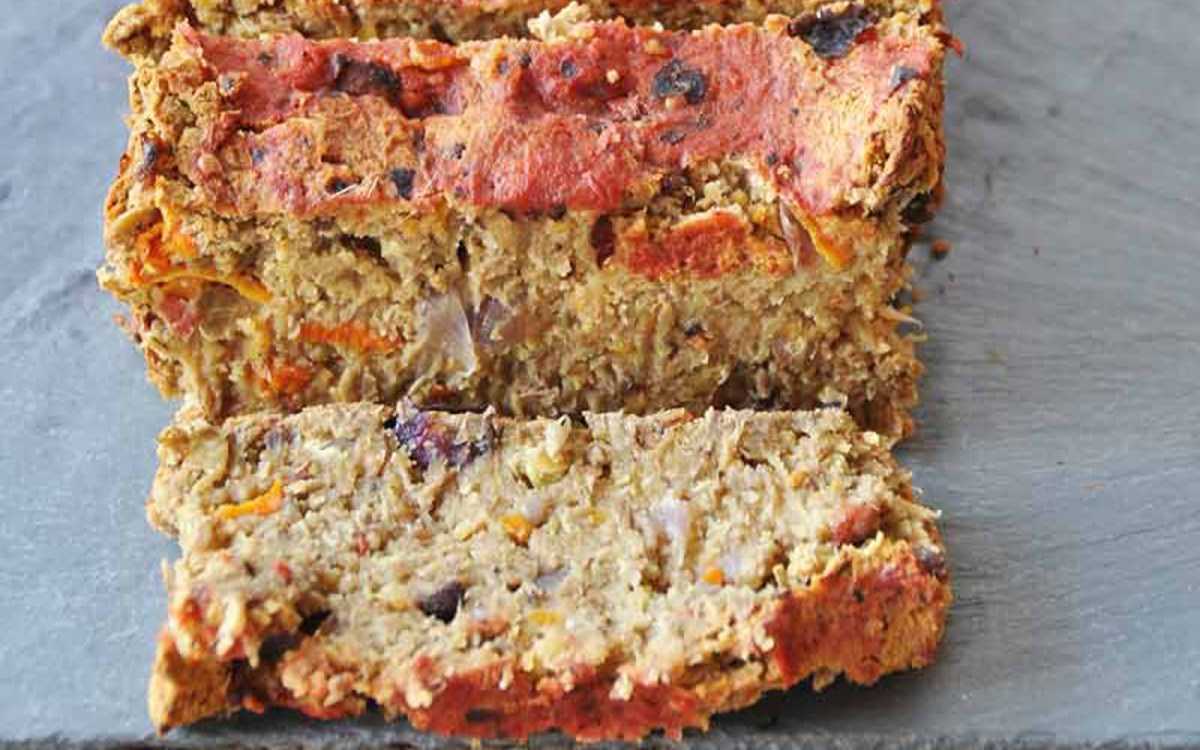 Lentil Loaf With Carrots, Onions, and Portobello Mushrooms