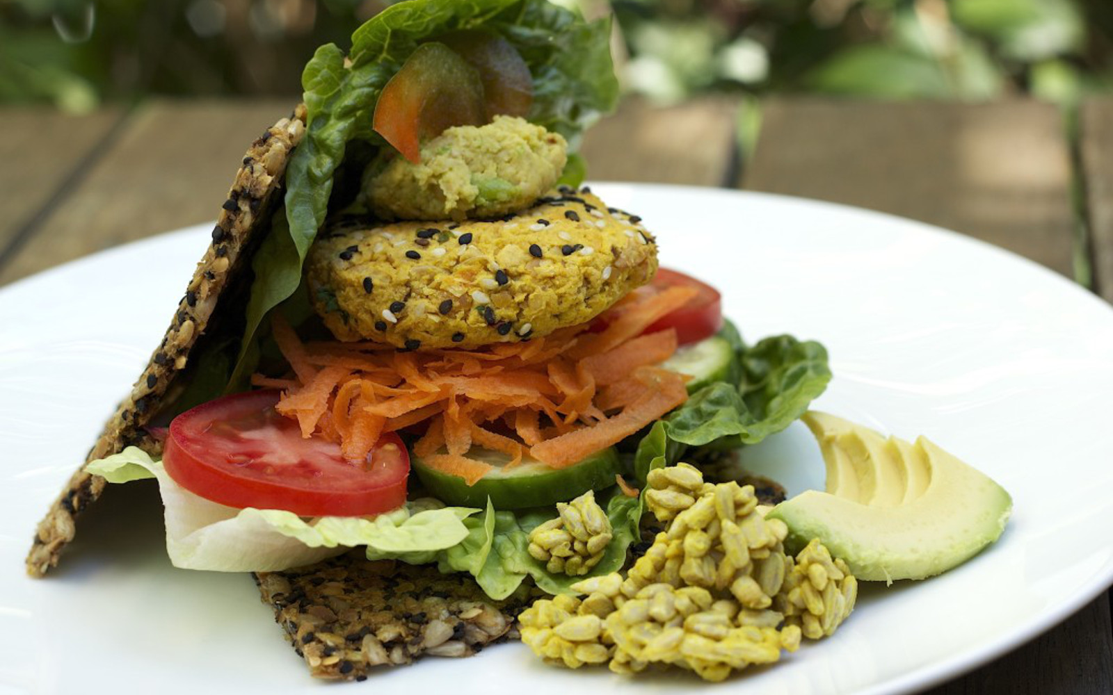raw sprouted hummus veggie burger