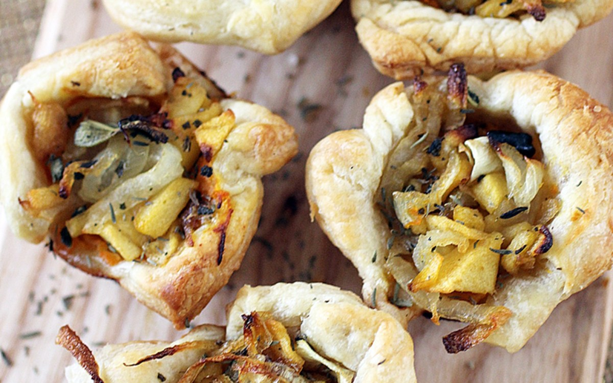 Rustic Tartlets With Caramelized Onions, Apple, and Butternut Squash