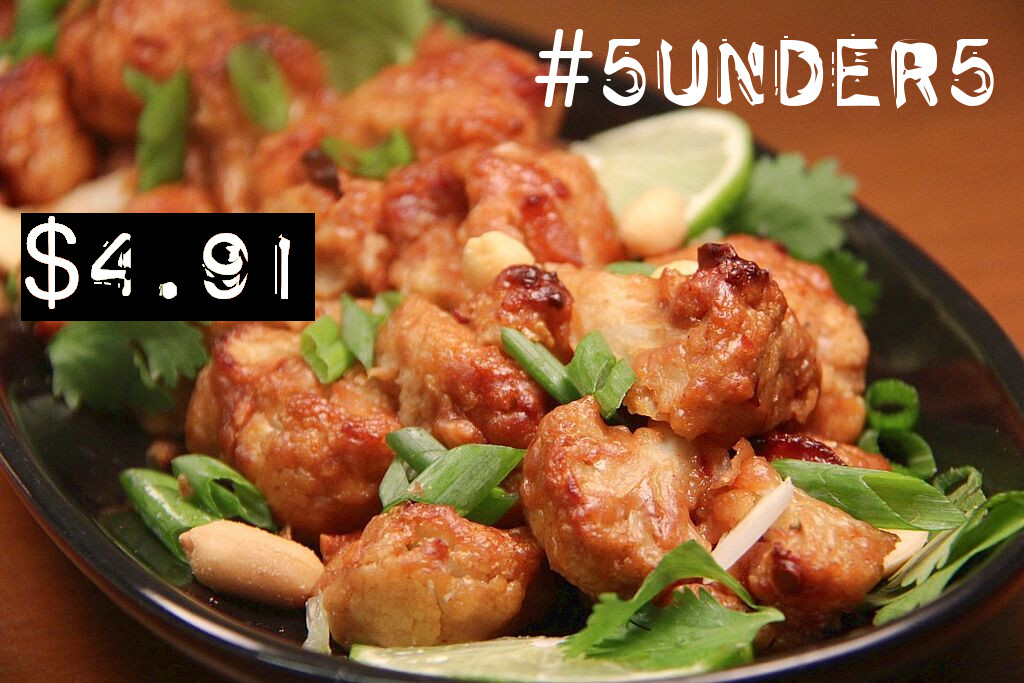 #5under5: Sticky Peanut Orange Cauliflower Wings