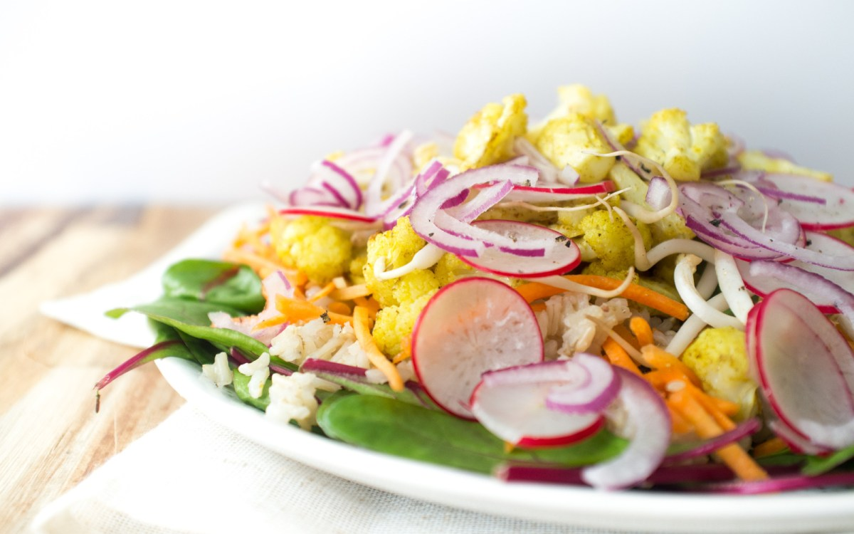 Warm Brown Rice and Roasted Cauliflower Salad With a Apple Cider Mustard Vinaigrette