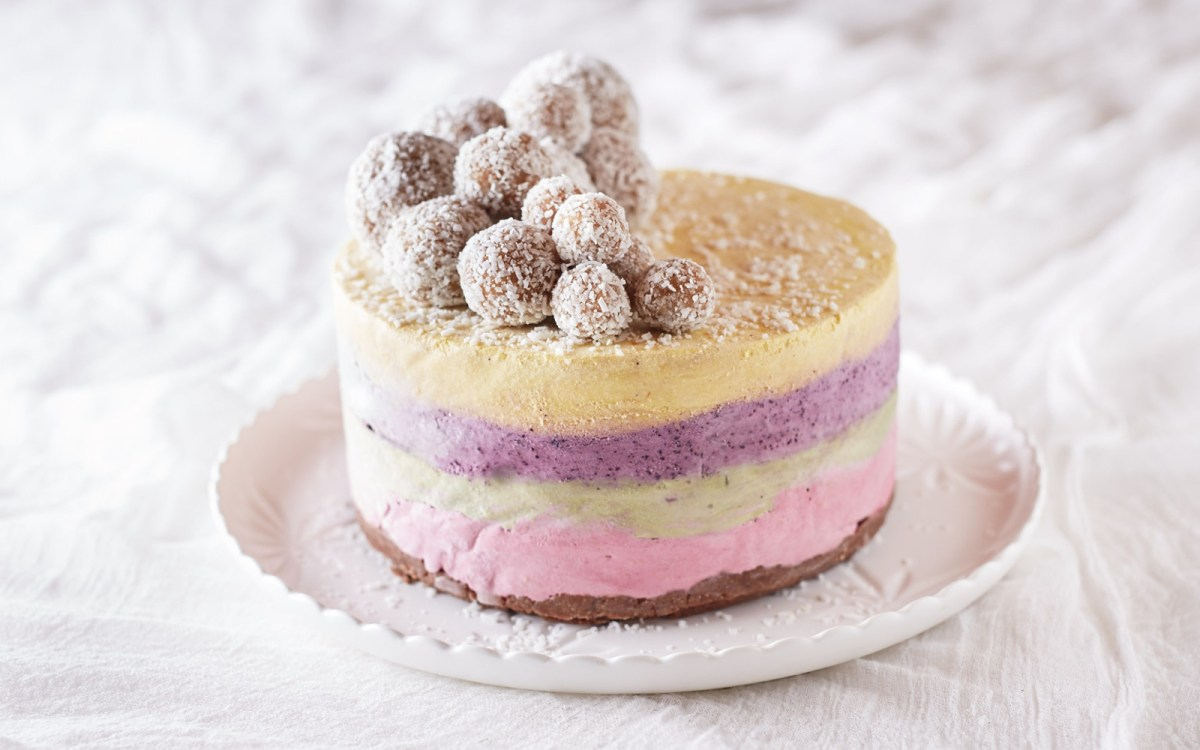 Four Layer Raw Rainbow Ice Cream Cake With Vanilla Bliss Balls