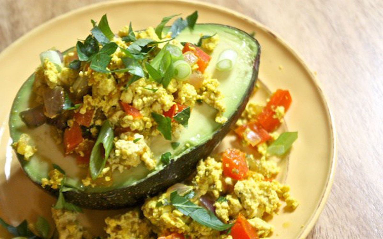 tofu scramble stuffed avocado