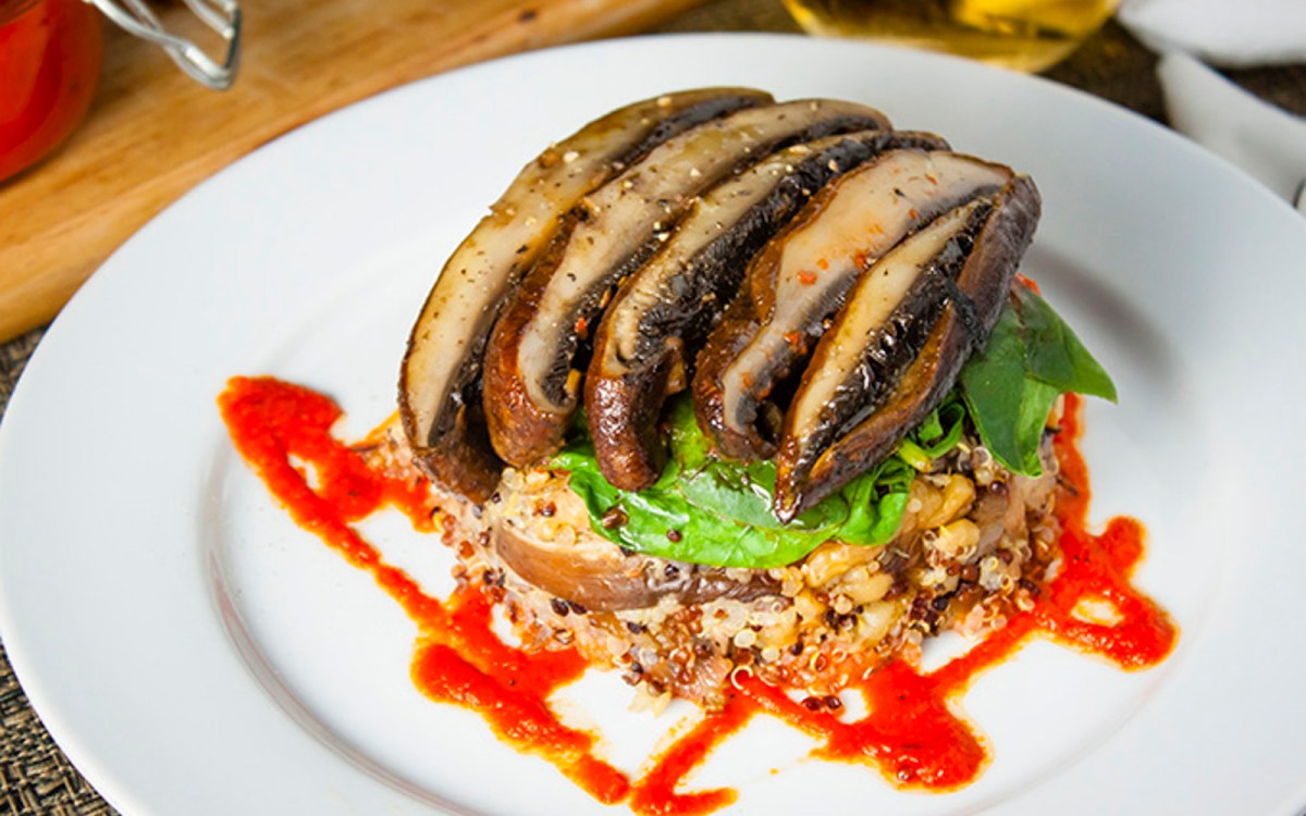 Quinoa and Portobello Mushroom Stacks With a Red Pepper Coulis