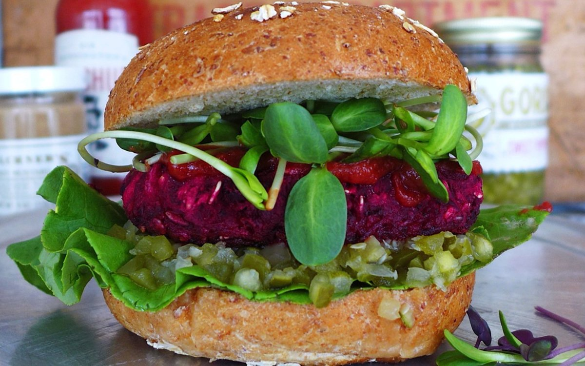 Red Onion and Beet Burger