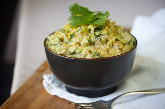 Cheesy Spinach and Cilantro Rice