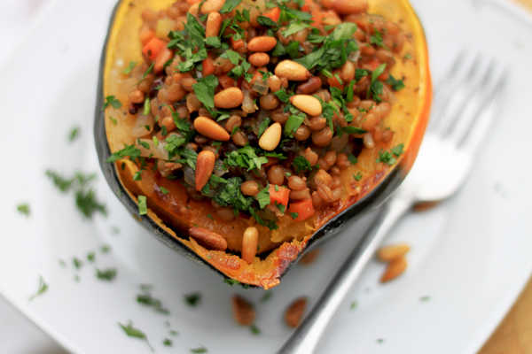 Stuffed Acorn Squash with Wheat Berries, Pine Nuts, and ...