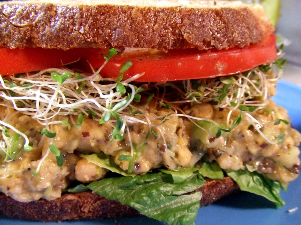 Chickpea vegan 'Tuna' Salad Sandwich