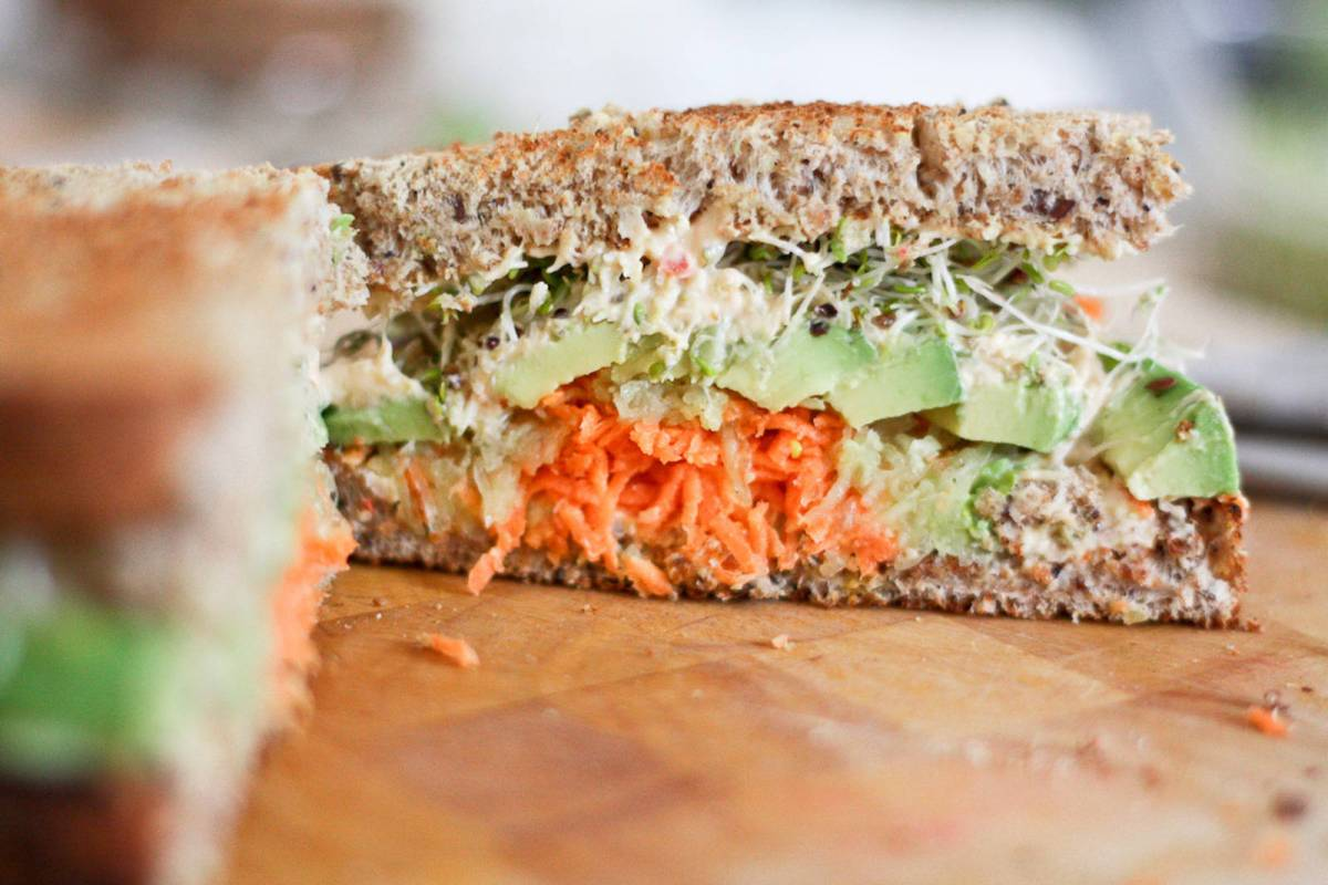 hummus carrot cucumber avocado and sprouts sandwich vegan one green planet. Black Bedroom Furniture Sets. Home Design Ideas