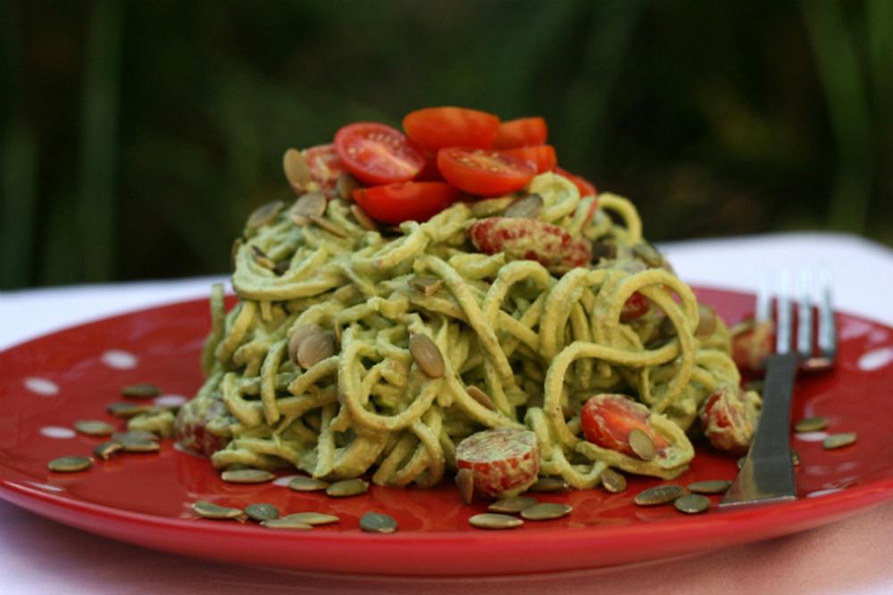 25 vegan italian recipes that will blow your mind one green 5 minute basil pesto raw zucchini pasta vegan gluten free forumfinder Choice Image
