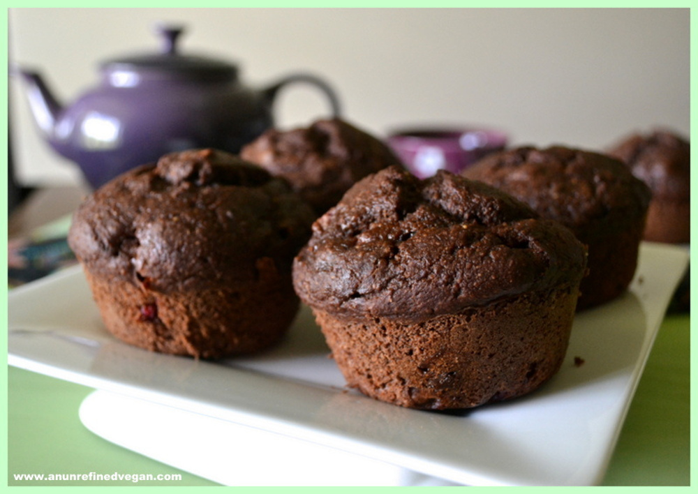 Chocolate Peanut Butter And Jelly Muffins Vegan