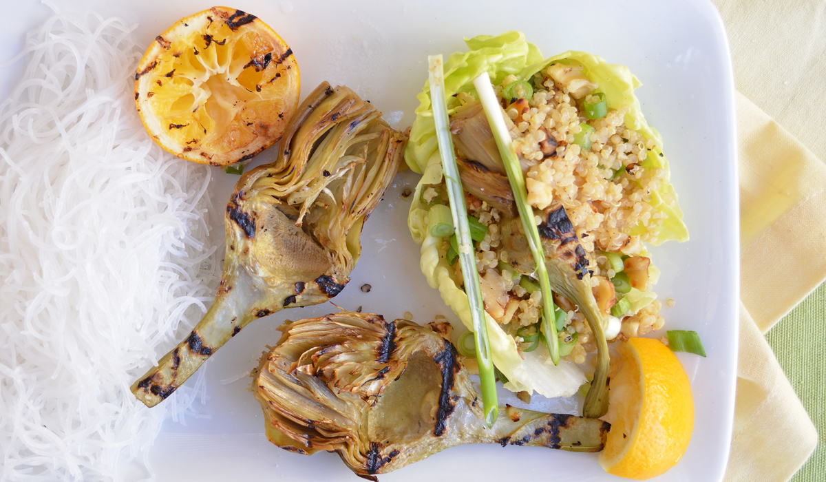 Grilled Artichoke and Quinoa Lettuce Wraps