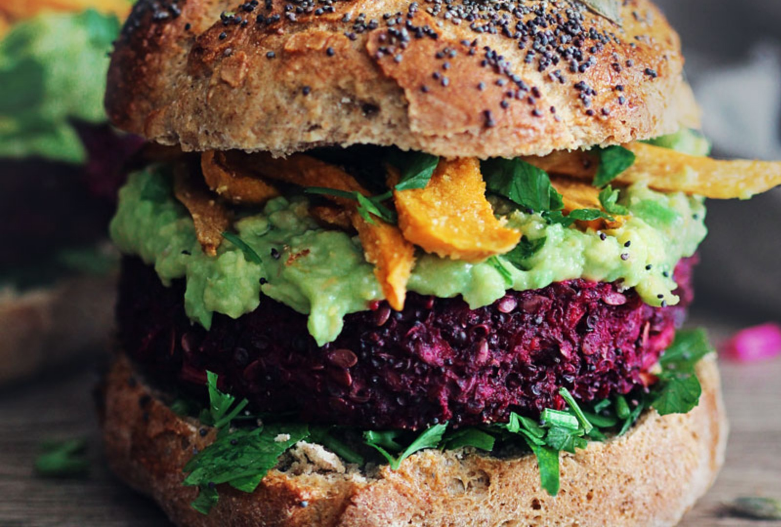 Vegan Red Quinoa and Beet Burger