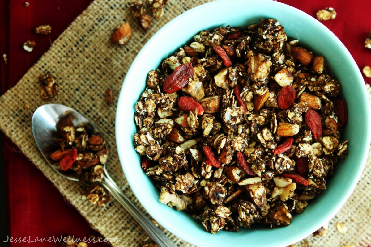 Vegan Chocolate Granola with goji berries