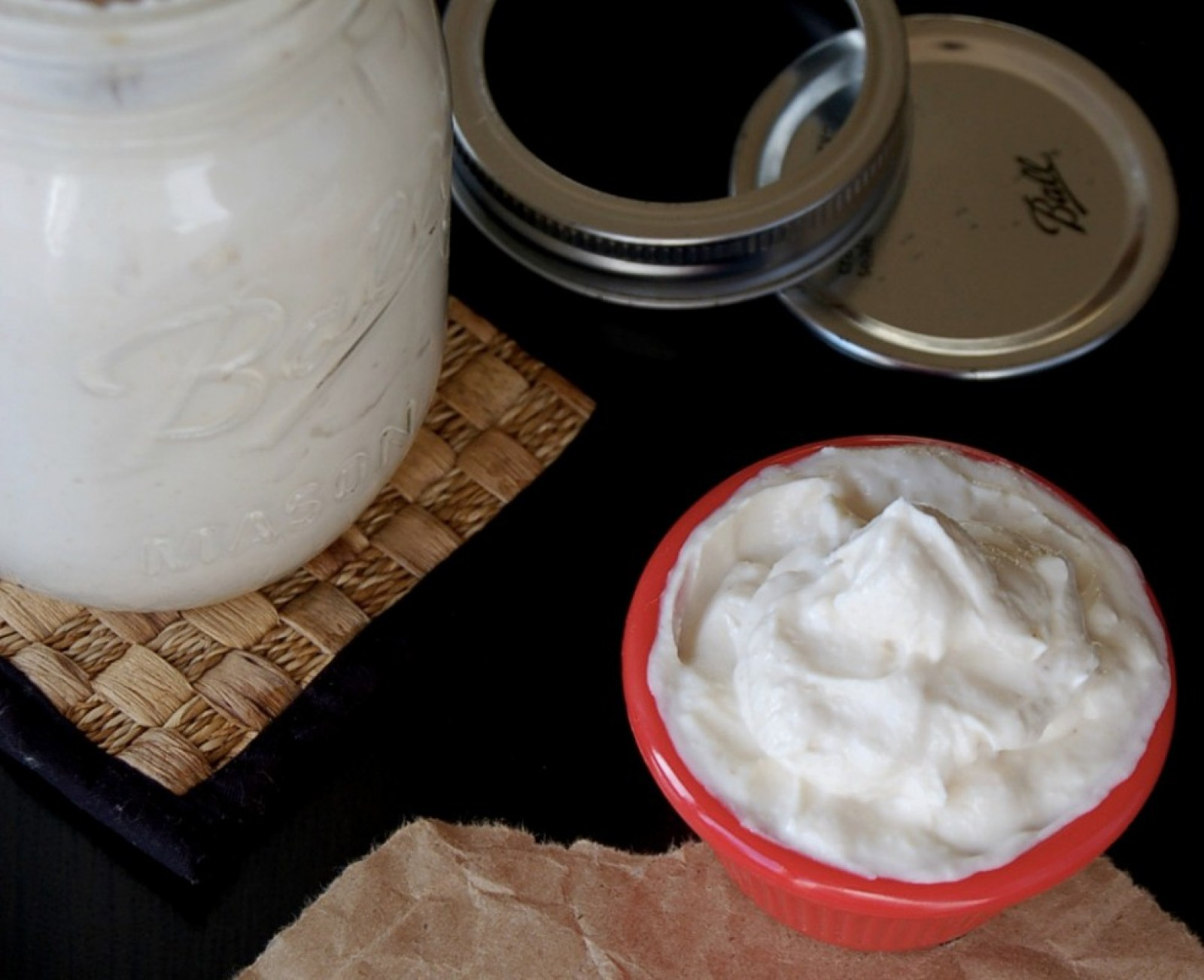 Vegan Homemade Mayonnaise in jar