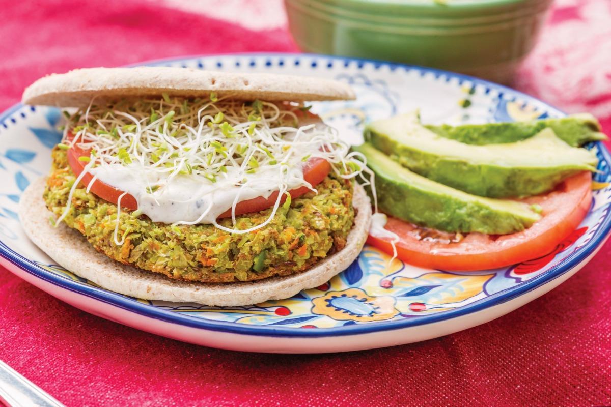 Edamame Burger With Cilantro Wasabi Aioli [Vegan] - One ...